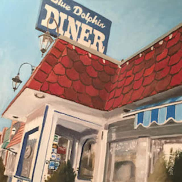 The painting by Floyd Rappy is part of an exhibit of his artwork at the Pound Ridge library.