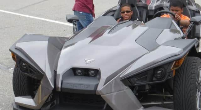 Students got an up-close look at a Batmobile-like vehicle at the Walden School.