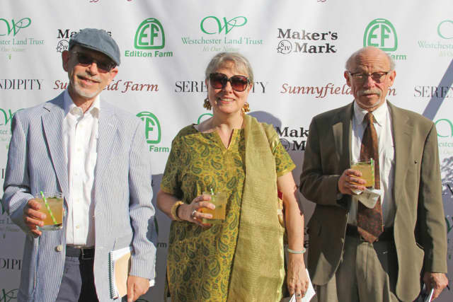 """M.Weinstein, T.Liszka, G.Weinstein.jpg"" From left to right: Westchester Land Trust's most recent easement donors Martin Weinstein, Teresa Liszka and Gerald Weinstein at the organization's annual benefit in June."
