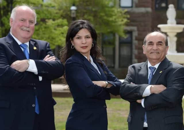 Passaic County incumbents sweep: Surrogate Judge Bernice Toledo is flanked by Freeholders Terry Duffy and Pat Lepore.