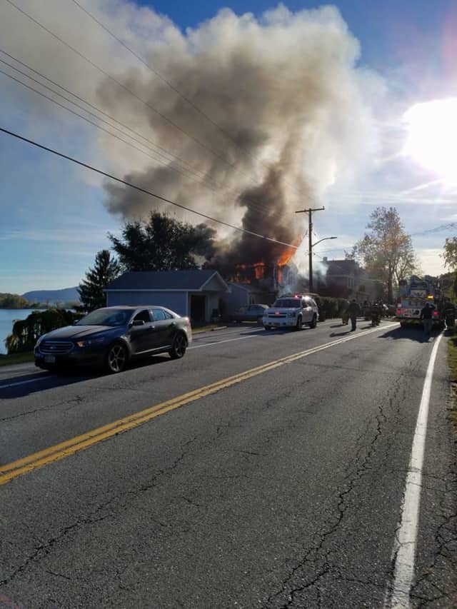 Firefighters are battling a fire in Verplanck