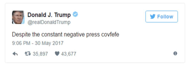 President Donald Trump's Twitter typo.