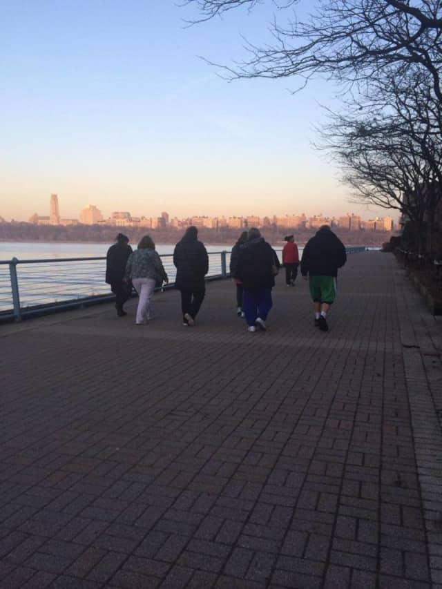 Cliffside Park-Edgewater Wellness Challenge participants take part in a group walk.