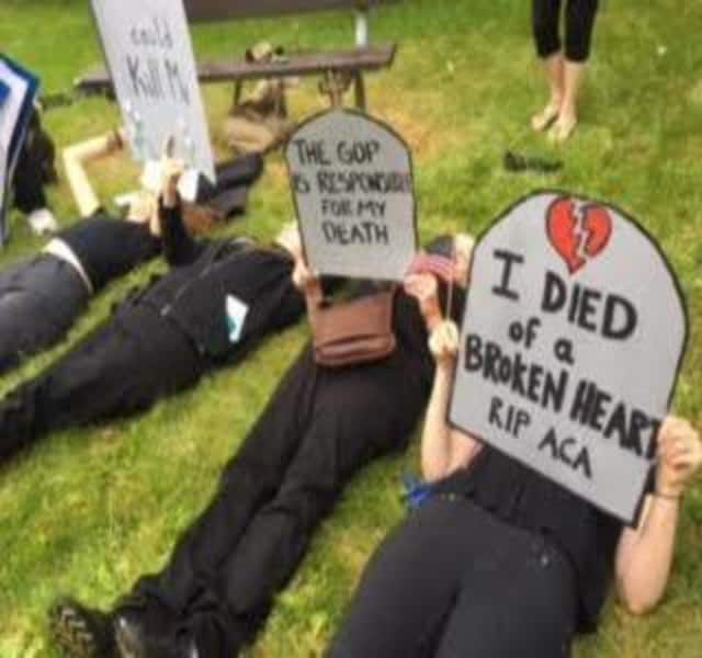 Protestors staged a die-in Friday in Yorktown