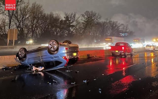 SUV rolls in Route 80 crash.