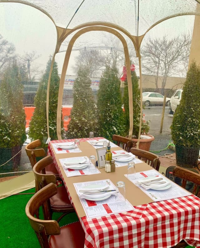 A dining igloo at Uncle Bacala's in Garden City Park