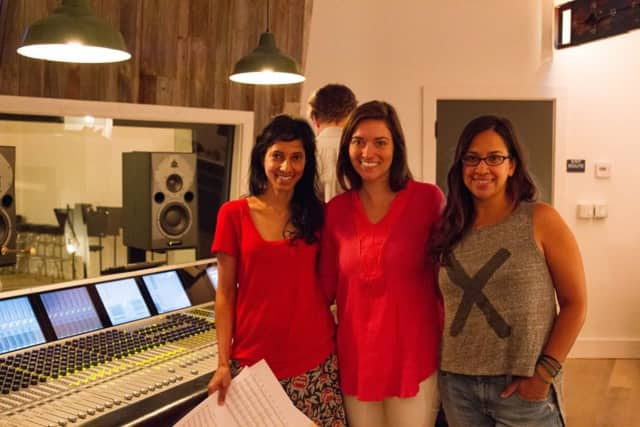 Composer Amritha Vaz in the studio with 'Little Stones' Director/Producer Sophia Kruz and Cinematographer/Co-Producer Meena Sing.