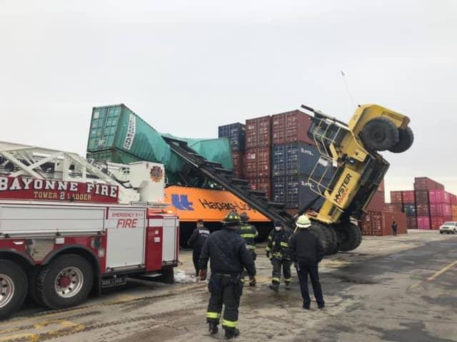 Crane topples in Bayonne