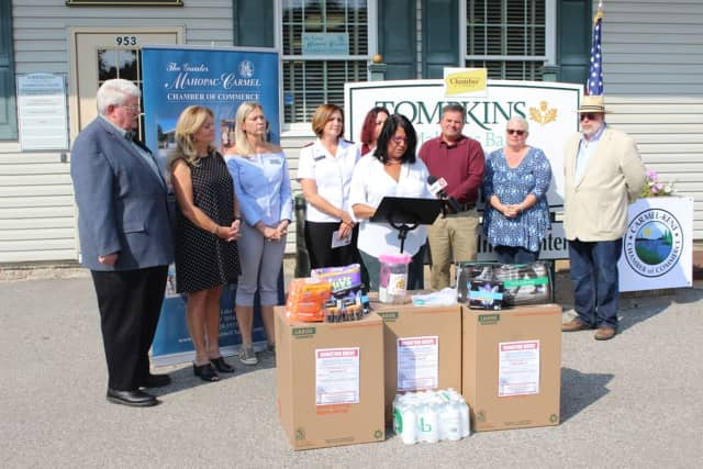 Community leaders talk about the Hurricane Relief Donation Drive that the Greater Mahopac-Carmel Chamber of Commerce launched
