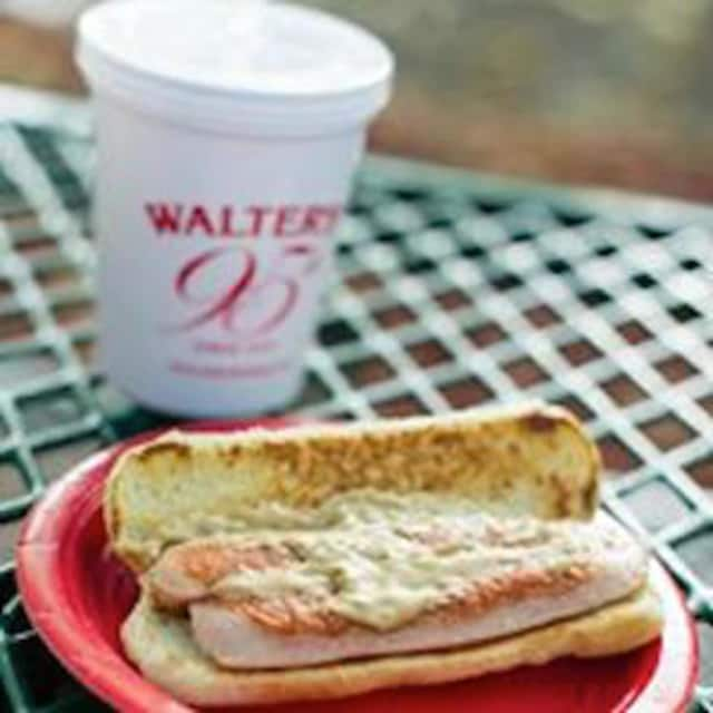 The classic Walter's hot dog, smothered in mustard can be found in White Plains in April.