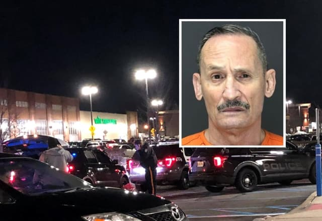 INSET: Augusto G. Perez / At the scene of the stabbing at the Bergen Town Center off Route 4.