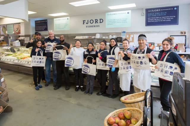 The team at Fjord Fish Market took a quick break from preparing for their lunch crowd to show their enthusiasm for supporting our local community and for Small Business Saturday's event.