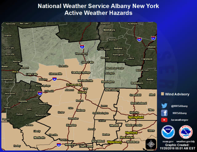 The wind advisory is in effect from noon Sunday to 6 p.m. Monday.