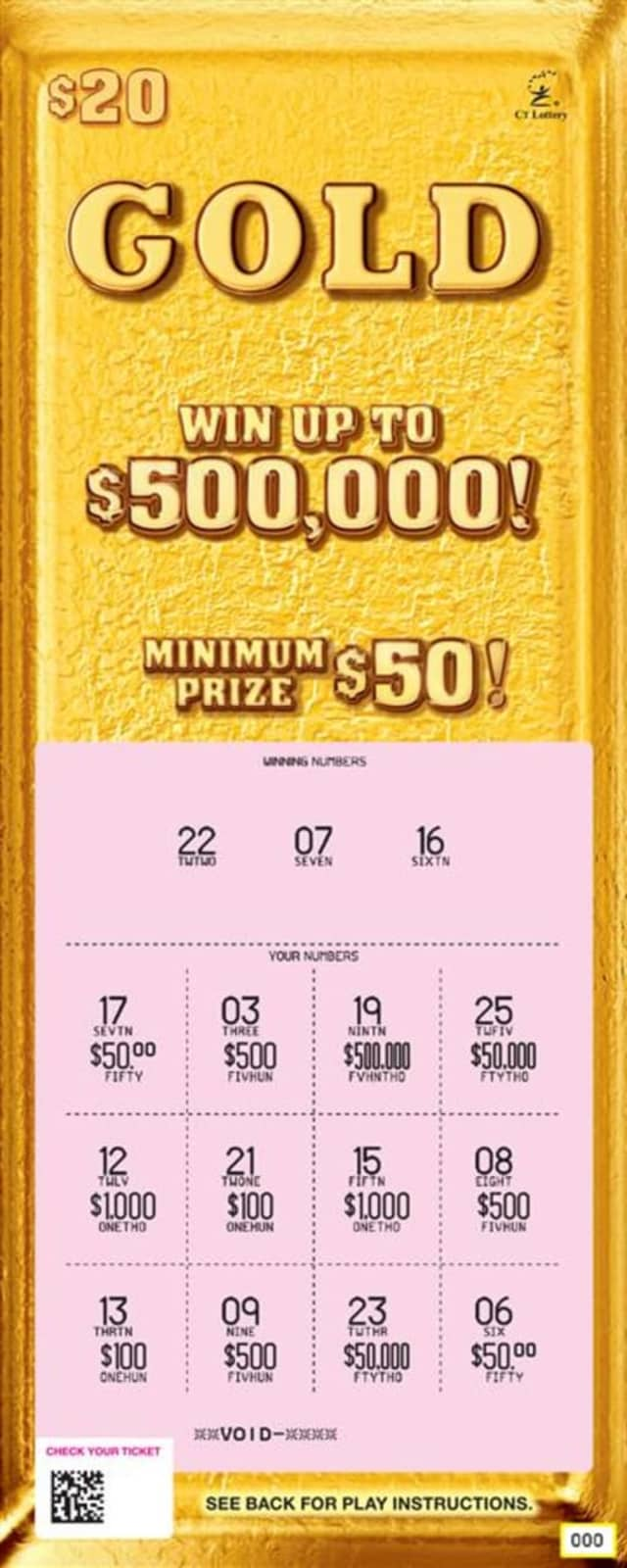An Ansonia man won $500,000 on a Gold scratch-off ticket.