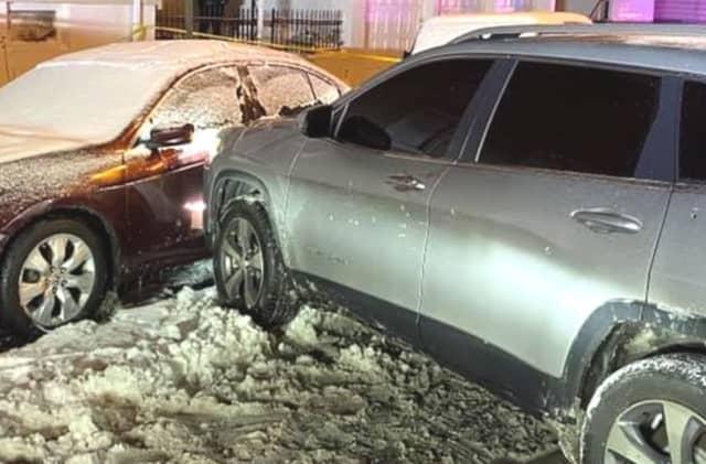 The Jeep Cherokee that Stevens Origene, 22, was fatally shot in.