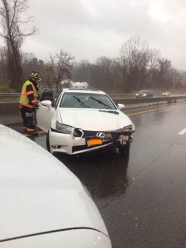 Emergency responders in Croton on Tuesday battled heavy rains while responding to three car crashes in the village.