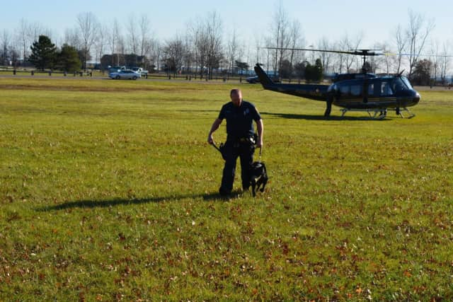 A Norwalk police officer and K9 train at Sherwood Island State Park.