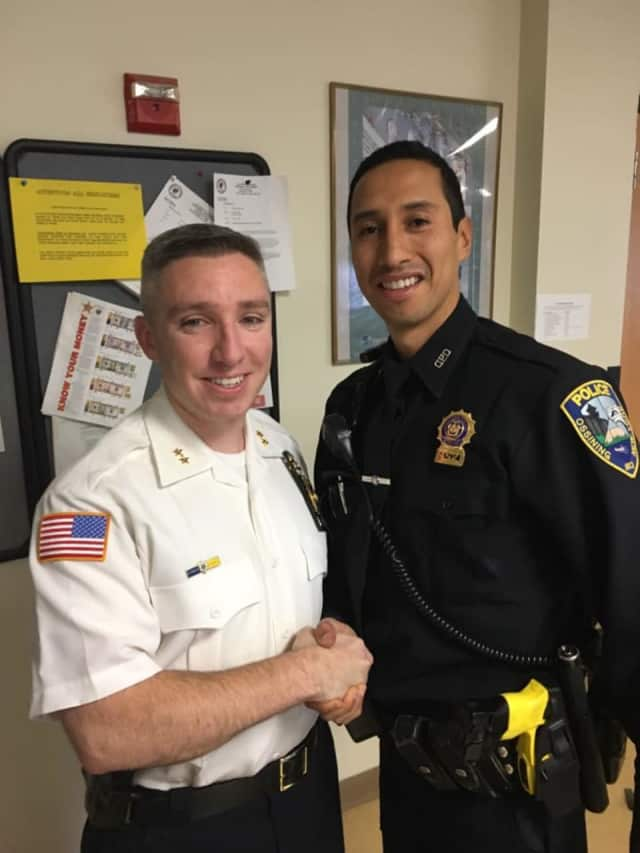Chief Kevin Sylvester with newly promoted Detective Jeff Chavez.