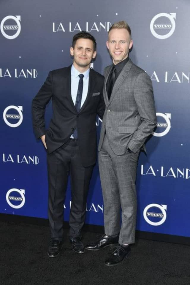 Benj Pasek, left, and Justin Paul, right, at the premiere of LaLa Land in Dec. 2016.