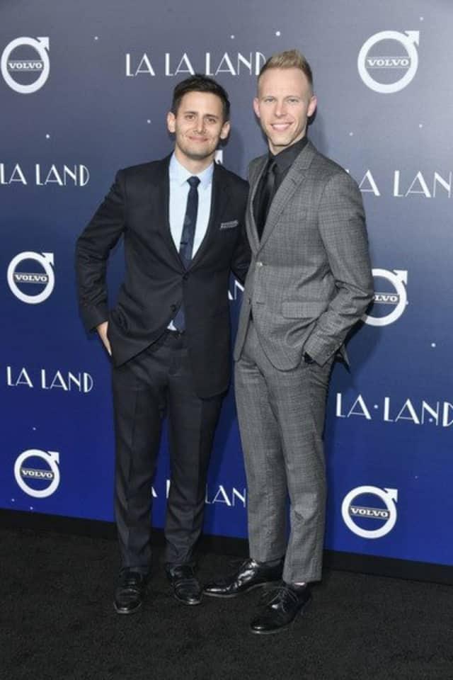"Benj Pasek and Justin Paul at the premiere of ""LaLa Land"" in December 2016."