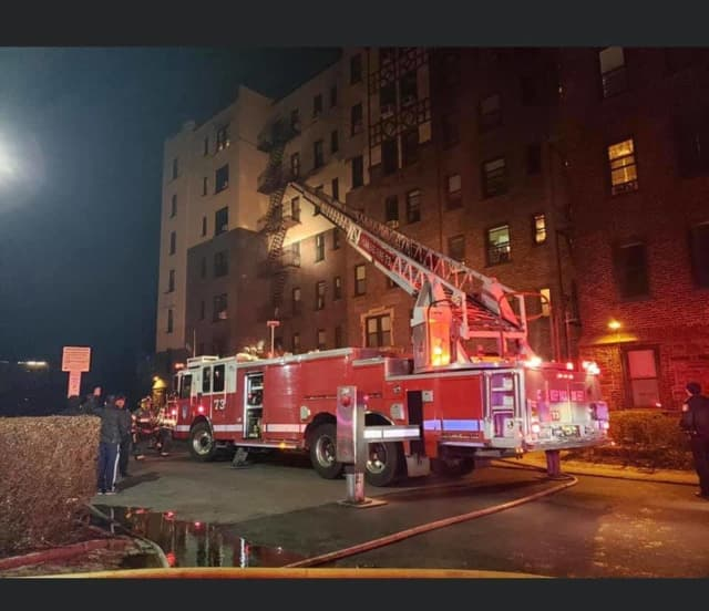 Two residents were burned and two firefighters injured during an apartment fire in Yonkers.