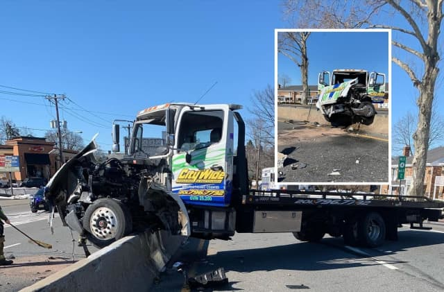 Aftermath of the crash on Broadway in Fair Lawn.