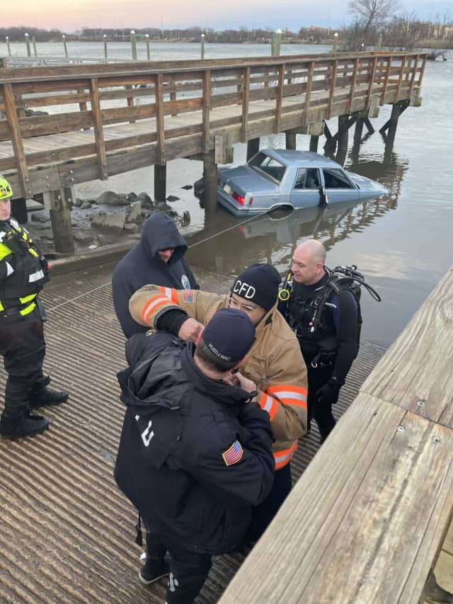 A Ridley driver was rescued from his car after it submerged 15 feet into the Delaware River Monday, authorities said.