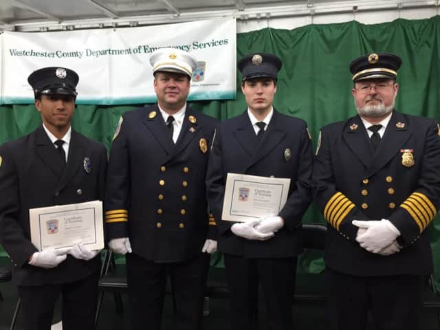 Left to right: Probationary Firefighter Andrew Liebler, Asst. Chief Christopher Pesavento, Probationary Firefighter Jake Dominello, Deputy Chief Stephen Dominello