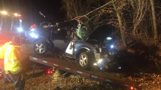 """A motorist suffered """"serious injuries"""" after striking a tree while driving on the Taconic Parkway in Hawthorne."""