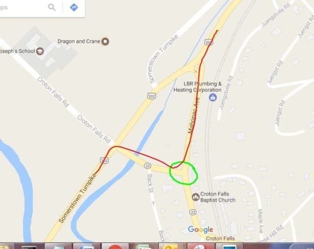 The photo shows the travel of traffic (red line) and the problem intersection for northbound traffic (green circle).