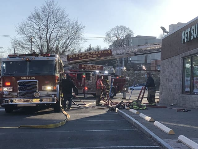 A fire in the air conditioning unit at a Chase Bank in Shelton filled the interior with smoke.