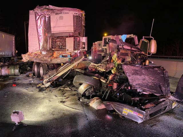 Two people were injured during a two-tractor-trailer crash on I-95 in Fairfield County.