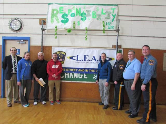 Memorial Middle School officials and the Fair Lawn Police Department's L.E.A.D. officers.