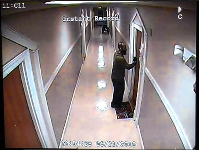 Bridgeport Police are looking for the suspect in a burglary that occurred in June.