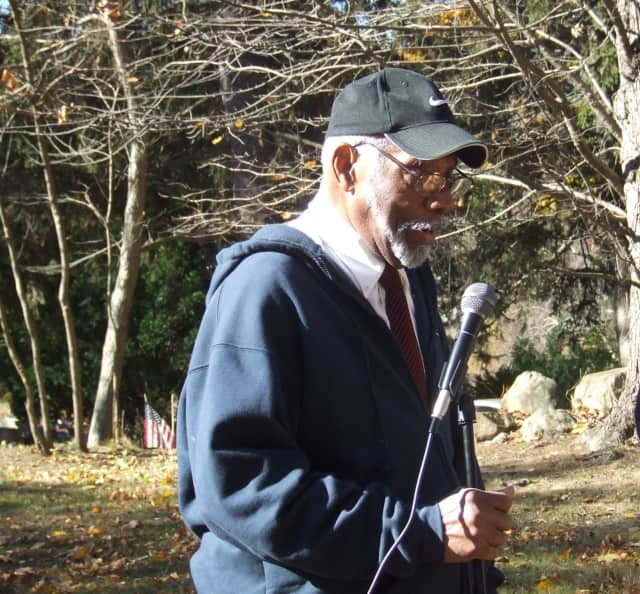 Arthur Taylor, a Korean War veteran, speaks at a Veterans Day ceremony at the African-American Cemetery in Rye.