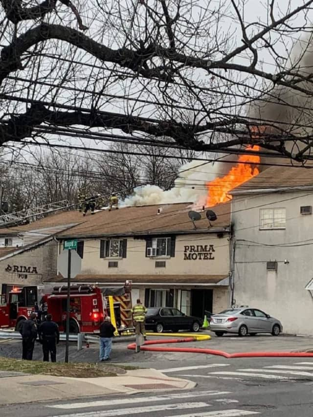 Phoenixville fire crews battled a two-alarm blaze at the Prima Motel Tuesday morning, authorities said.