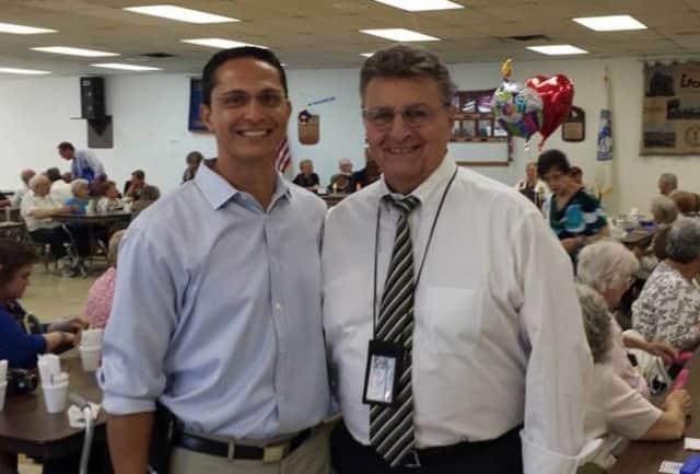 Lodi Borough Manager Tony Luna, at right, with state Assemblyman Joe Lagana at the Lodi Senior Citizens Center.