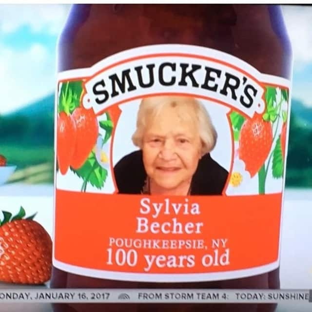 Sylvia Becher was featured on a Smuckers Jar for her 100th birthday.