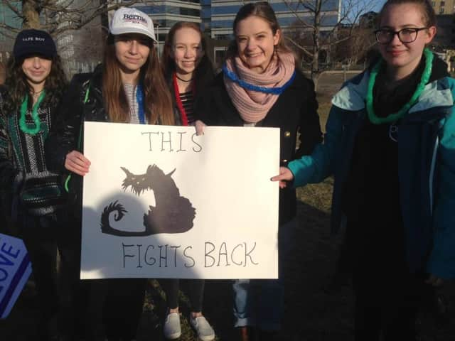 A group of local high school girls take part in the Day of Action last Sunday at Mill River Park in Stamford. The Women's March on Stamford, set for Saturday, has been moved outdoors and will be held at the same downtown park.