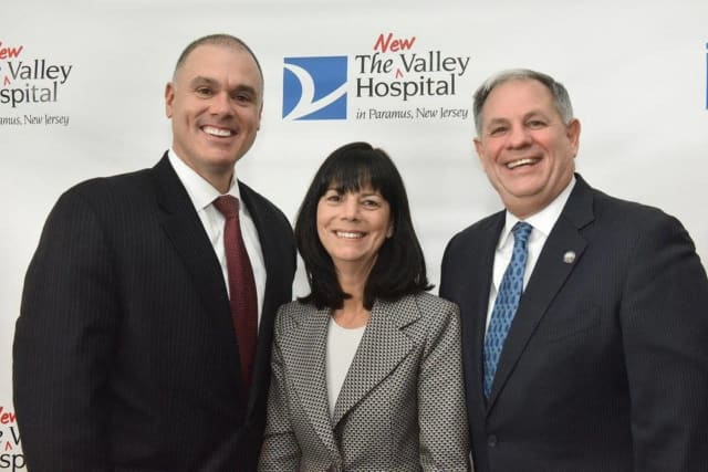 Paramus Mayor Rich LaBarbiera, The Valley Hospital President & CEO of Valley Health System Audrey Meyers and Bergen County Executive James Tedesco.