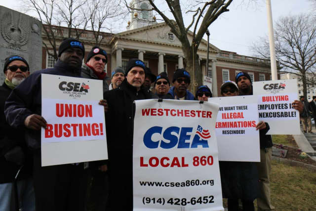Members of the CSEA Local 860 Union gathered for a rally protesting the firings of two Mount Vernon city employees.
