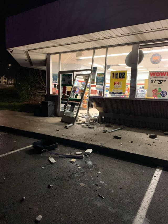 A pick-up truck was used to smash into a Valero gas station store.