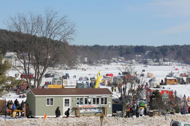 Thousands were at Lake Winnipesaukee in New Hampshire for the Meredith Rotary Club Ice Fishing Derby.