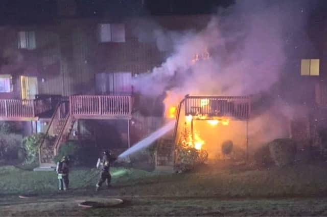 Flames ran the rear wall from the first to the third floor and across the deck