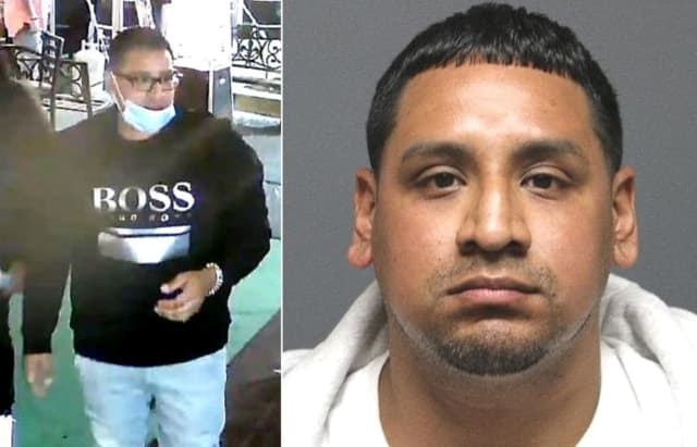 South Hackensack police said the man in the surveillance photo at left is Christian H. Quimis of Newark.