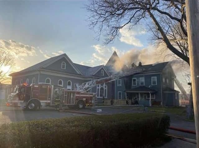 A fire broke out Easter Sunday at a Long Branch church that dates back to 1867, destroying the parsonage and injuring a firefighter.