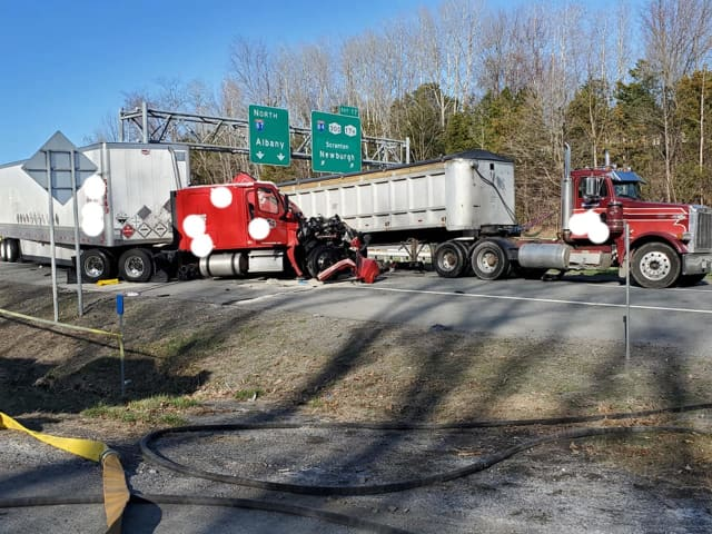 A tractor-trailer driver was killed during a multiple-vehicle crash on I-87.