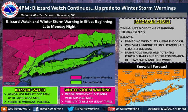 A look at areas where Blizzard Watches and Winter Storm Warnings are in effect for Tuesday.