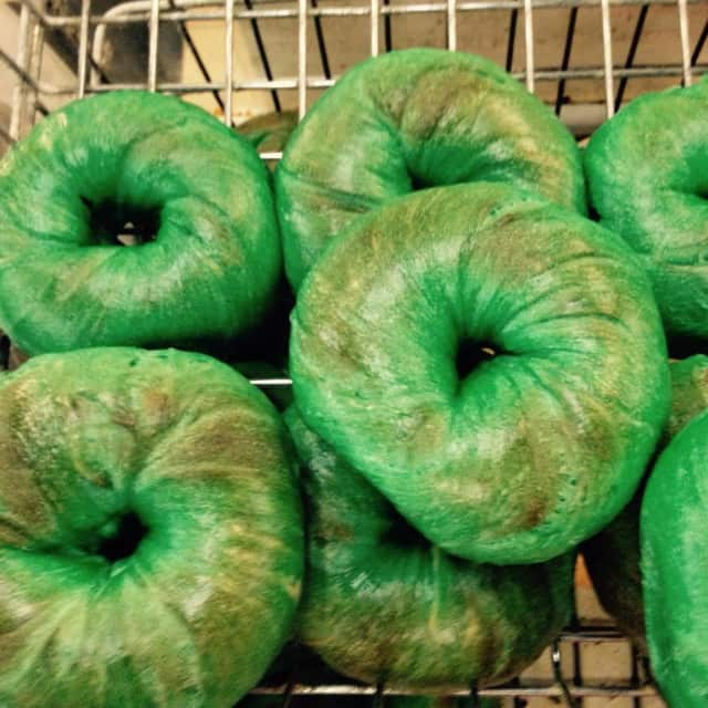 People can order ahead to ensure there are enough green bagels for everyone at Plaza Bagels in Clifton.