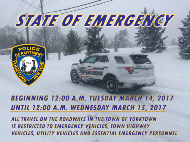 The town of Yorktown has issued a state of emergency through Tuesday to allow emergency responders to properly handle a massive blizzard striking the region.